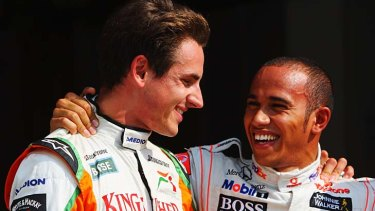 """""""Lewis is a coward"""" ... Adrian Sutil, left, does not want to be friends with Lewis Hamilton any more."""