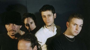 Never split up ... Mike Edwards (second from right) with his Jesus Jones bandmates.