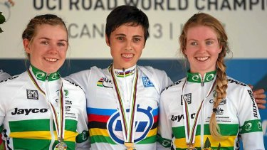 Australians Alexandria Nicholls (L) and Alex Manly (R) share the podium with under-23 world champion Severine Eraud of France.