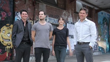 WA Greens Senator Scott Ludlam, Spacemarket founders Nic Brundson and Beth George and Fremantle Mayor Brad Pettitt.