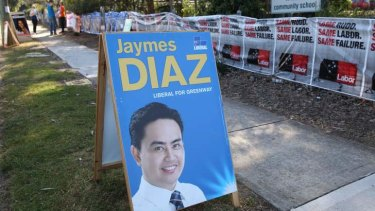 Missing man: Liberal candidate Jaymes Diaz has not been spotted at Greenway polling booths.