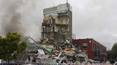 The tragedy ... the Canterbury Television building which collapsed last year, killing 115 people.