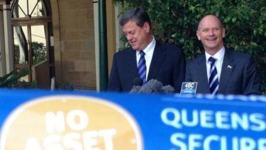 Premier Campbell Newman and Treasurer Tim Nicholls announce the asset lease plan.