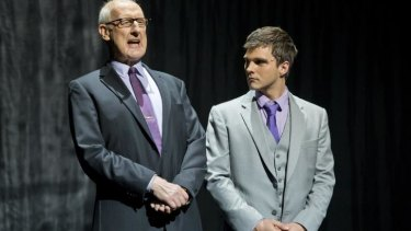 Mirror on media: The older Rupert Murdoch (James Cromwell) develops a humorous rapport with his younger self (Guy Edmonds).
