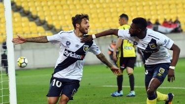 Hot shot: Daniel de Silva (left) celebrates a goal with Kwabena Appiah-Kubi.