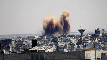 An Israeli strike on the southern Gaza Strip town of Rafah on Thursday, August 21.