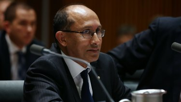 Peter Varghese, Secretary of the Department of Foreign Affairs and Trade, during an estimates hearing at Parliament House in Canberra in February 2014.