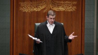 Peter Slipper announces his resignation in 2012.