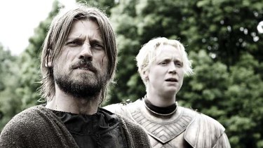 Gwendoline Christ as Brienne and Nikolaj Coster-Waldau as Jaime Lannister.
