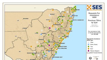 Calls for help ... the SES tweeted this map at 1.45pm