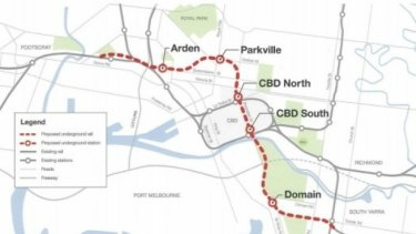The planned route for the proposed $10.9 billion Melbourne Metro.