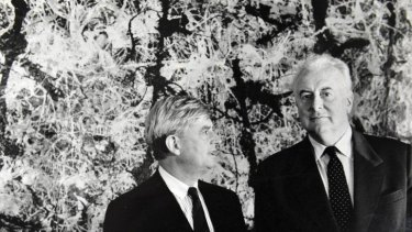 National Gallery of Australia director James Mollison and former Prime Minister Gough Whitlam stand in front of Jackson Pollack's <i>Blue Poles</i> in 1986.
