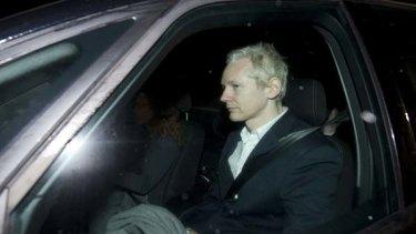 Julian Assange  arrives at Ellingham Hall, after being released from Wandsworth Prison.