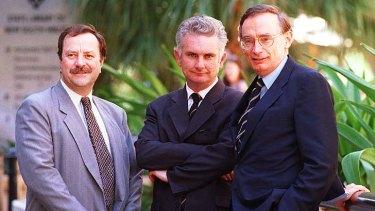 Labor supporters: (From left) Bruce Hawker, David Britton and Bob Carr.