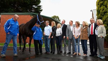 The blessed. Black Caviar and her connections pose for the media.