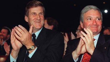 Jeff Kennett and Nick Greiner at the NSW Liberals' 1999 campaign launch.