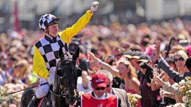 Viewed, with Blake Shinn, after their 2008 Melbourne Cup win.