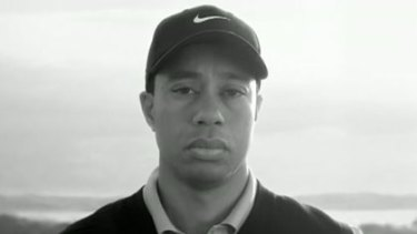 A sombre Tiger Woods in his comeback ad for Nike.