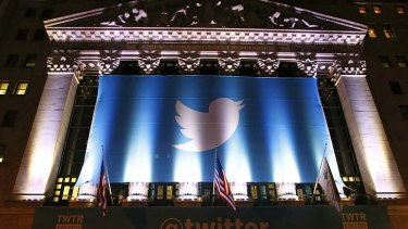 A Twitter banner adorns the New York Stock Exchange.