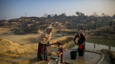 Refugees at a Rohingya refugee camp in Cox's Bazar, Bangladesh.