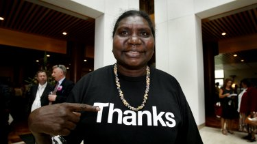 Member of the Australian Reconciliation Board Raymattja Marika wears a shirt saying thanks in response to the Prime Minister Kevin Rudd's apology to the Stolen Generation