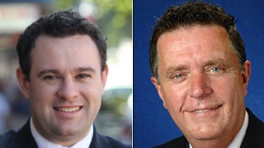 Ins and outs of the seat of Penrith... Liberal Party candidate for Mrs Paluzzano's seat vacated yesterday, Stuart Ayres, (left) and the Labor Party's likely candidate Greg Davies.