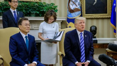 US President Donald Trump meets his South Korean counterpart Moon Jae-in at the White House in June.