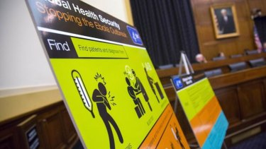 US Centres for Disease Control and Prevention  educational materials are displayed at a hearing of a House Foreign Affairs subcommittee.