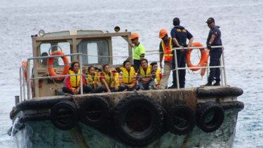 Vietnamese asylum seekers arrive on Christmas Island in March last year.