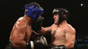 Promising: Paul Gallen wins a charity bout against Hika Elliott