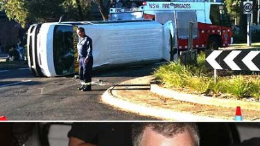 Fallen over ... The school bus at Mona Vale today. Not fallen over ... Kyle and Tamara's marriage.