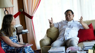Prabowo Subianto interviewed by Fairfax Media Indonesia correspondent Jewel Topsfield at his home in Hambalang.