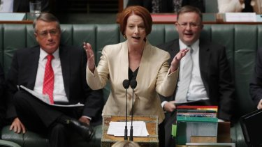 Back in front ... Prime Minister Julia Gillard during question time yesterday.