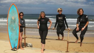 Water worldly: Rachel Lawson (second from right) and Naomi Waite (far right) continue to test themselves against the seas with like-minded mothers.