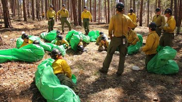 Granite Mountain Hotshots crew members set up emergency fire shelters during training in April 2012.