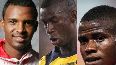 Kamal Ibrahim (Melbourne Heart), Bernie Ibini-Isei (Central Coast Mariners) and Teeboy Kamara (Adelaide United).