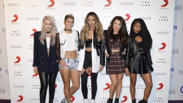 Lauren Bennett, Paula Van Oppen, Emmalyn Estrada, Natasha Slayton and Simone Battle at their VIP gig at The Star Marquee last week.