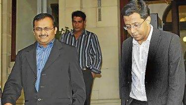 Sivarajah Yathavan and Arumugam Rajeevan leave the Melbourne Supreme Court.