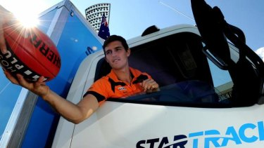"""The Manuka Oval will now bear a sponsor's name during AFL matches. GWS Giants co-captain, Phil Davis was on hand when it was named """"Star Track Oval Canberra""""."""