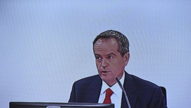 Screenshot of Opposition Leader Bill Shorten giving evidence during the Royal Commission into Trade Union Governance and Corruption in Sydney.
