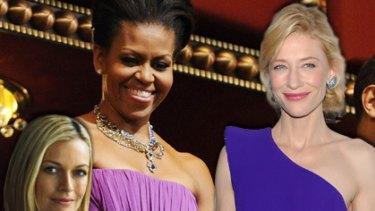 Brand boosters ... Sarah Murdoch for Bonds, Michelle Obama in Peter Soronen and Cate Blanchett  in Armani Prive.