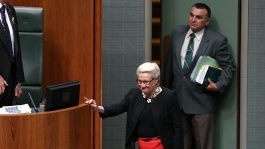 Speaker Bronwyn Bishop leaves the House of Representatives on Tuesday.