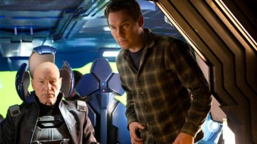 <i>X-Men</i> director Bryan Singer on the set with Patrick Stewart.