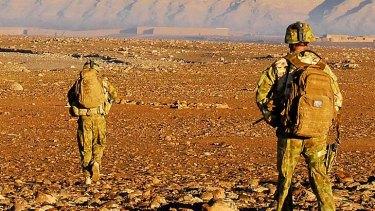Soldiers on patrol in Mirabad Valley, Afghanistan.