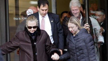 January 2013: then US secretary of state Hillary Clinton leaves New York Presbyterian Hospital after treatment for a blood clot stemming from a concussion she suffered in mid-December 2012.