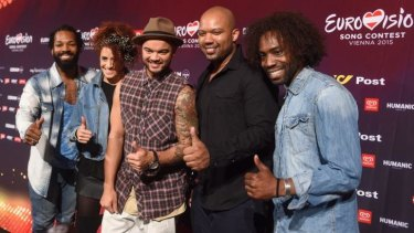Guy Sebastian (centre) with his singers during a meet and greet ahead of the Eurovision Song Contest in Vienna, Austria.