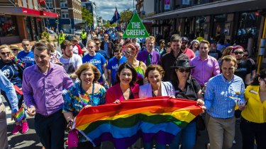 Lord Mayor Graham Quirk (left) pictured at last year's Brisbane Pride Festival, with federal MPs Teresa Gambaro (LNP) and Terri Butler (ALP), Deputy Premier Jackie Trad (ALP), state MP Grace Grace (ALP) and then-Labor lord mayoral candidate Rod Harding.