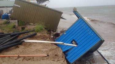 Decks and sheds have toppled into the ocean at Great Keppel Island Hideaway Resort. Photo: Supplied