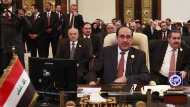 """""""Iraq is afraid of the attempts to militarise the Arab uprisings"""" ...  Iraqi Prime Minister Nouri al-Maliki attends the Arab League summit in Baghdad."""
