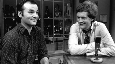 David Letterman, right, and guest Bill Murray on <i>Late Night with David Letterman</i> in 1982.